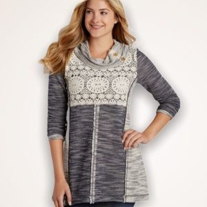 MAURICES Marled Crochet Sweater Tunic